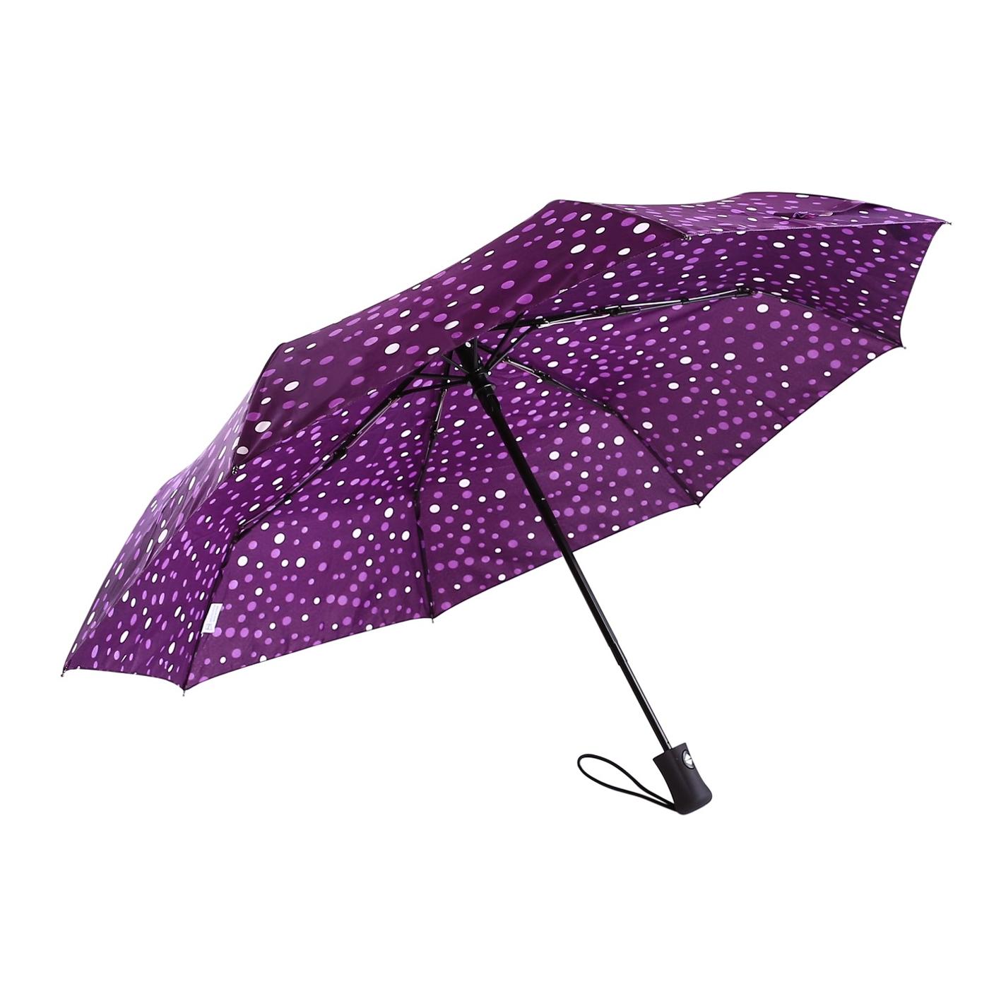 【德國boy】抗UV-防風三折晴雨自動傘(紫色星空)