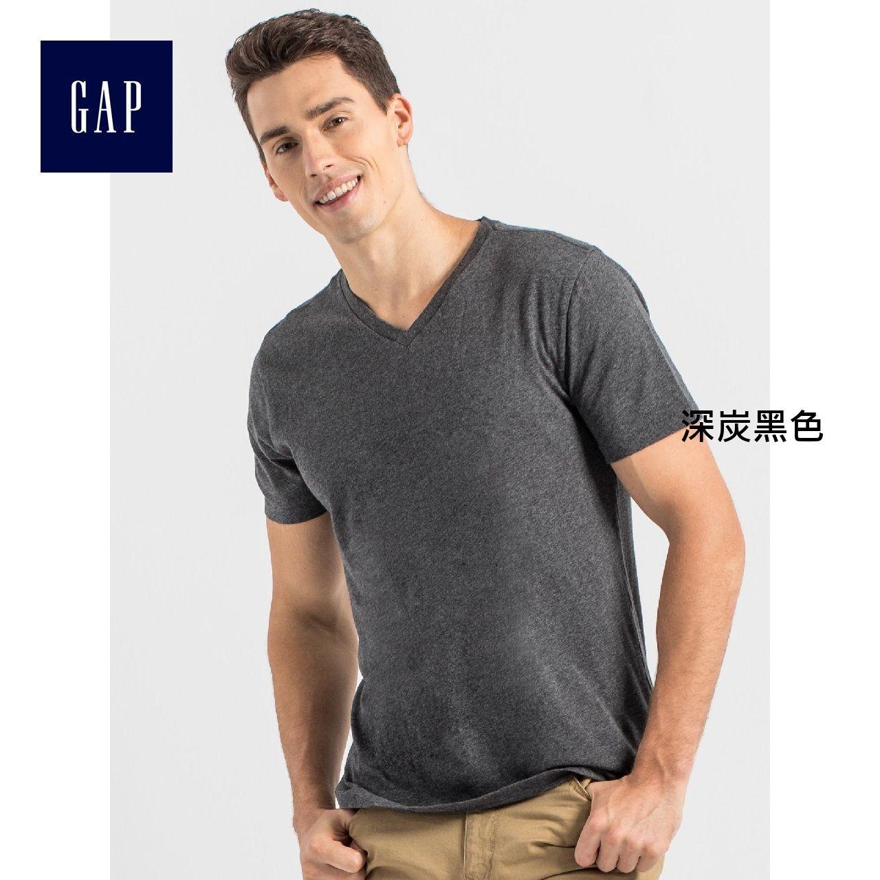 Gap男裝 全棉多選色基本款純色V領T恤 768638