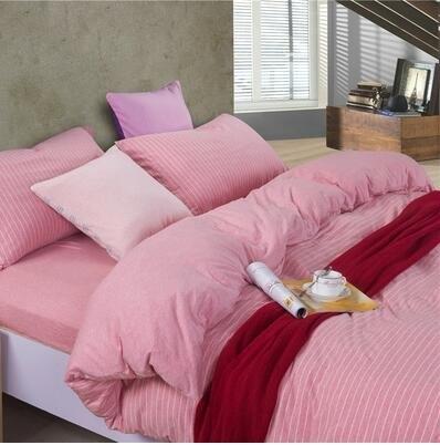 天竺棉四件套純棉簡約條紋床單被套針織棉全棉床笠床上用品粉白細條