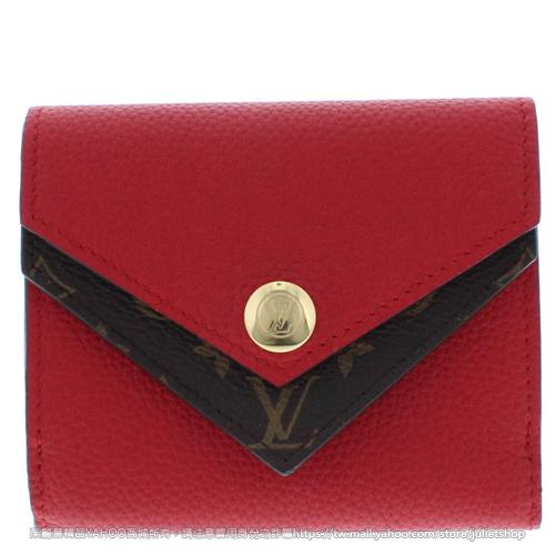 茱麗葉精品全新精品Louis Vuitton LV M64419 Double V經典花紋小牛皮雙蓋V扣式短夾.紅預購