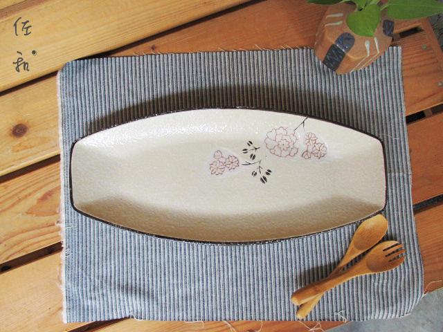佐和陶瓷餐具~82GA013-16 16吋日式長方盤白梅餐廳擺盤宴客刺身長盤