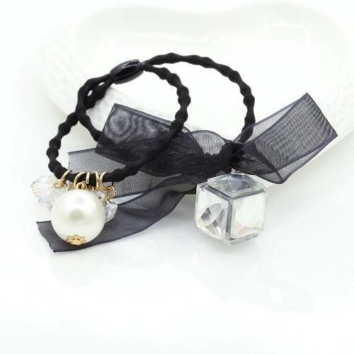 NiNi Me韓系髮飾立體壓力克水晶蝴蝶結珍珠球球款髮束髮束H9093