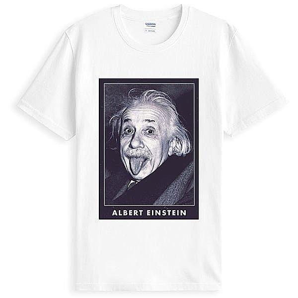 Albert Einstein愛因斯坦人物相片潮T短袖棉質T恤-白色t-shirt美國棉