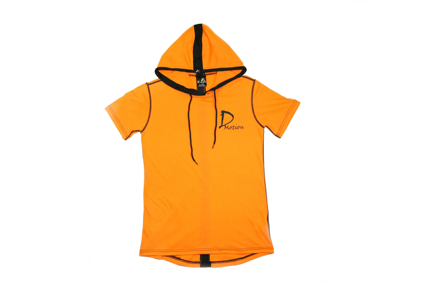 DMotion 男女前短後長連帽T恤 橘色 大童 台灣製