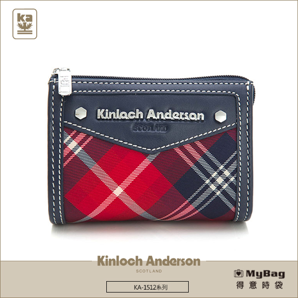 Kinloch Anderson金安德森皮夾零錢包KA151208紅藍經典格紋女夾MyBag得意時袋