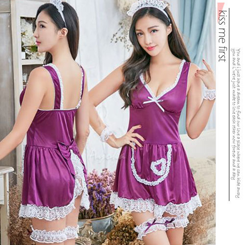 女性內睡衣角色扮演深情女僕後開襟七件式角色服NA11030180紫-優品生活館