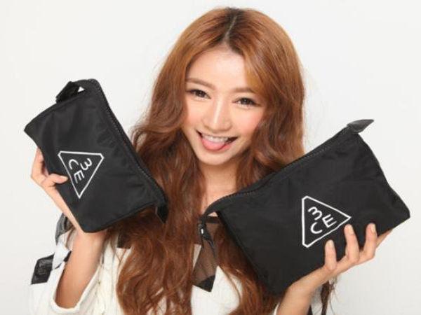 韓國3CE化妝包超大容量獨特外觀外置粗拉鏈 3ce化妝包◎花町愛漂亮◎MY