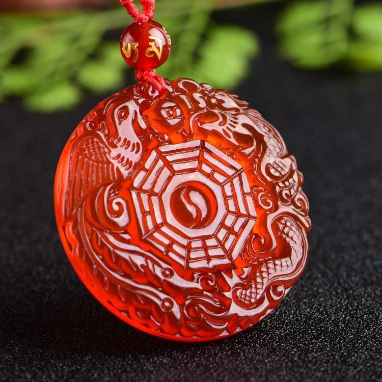 開光天然紅瑪瑙龍鳳太極八卦吊墜男女開運項鍊本命年項墜水晶飾品