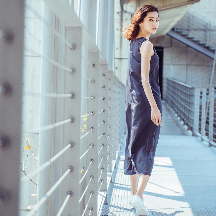 【MACACA】清爽の夏日長洋裝-BSE8021(灰)(瑜伽/慢跑/健身/輕運動)