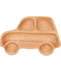 里和Riho 日本PETITS ET MAMAN兒童餐盤系列 造型木質餐盤-叭噗汽車 天然木質溫潤觸感,不用擔心摔破