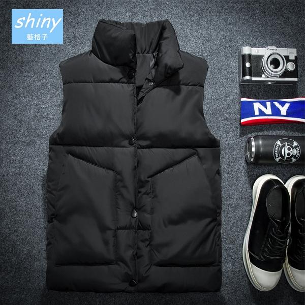 【Y202】shiny藍格子-冷冬陪伴.秋冬季男休閒羽絨棉馬甲外套
