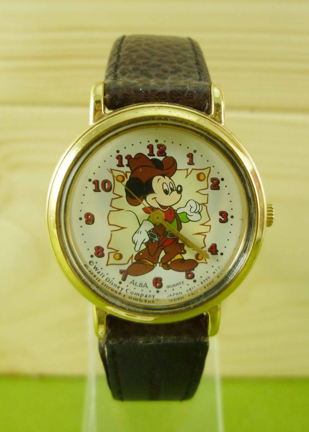 震撼精品百貨米奇米妮Micky Mouse~手錶-米奇牛仔裝圖案-金色