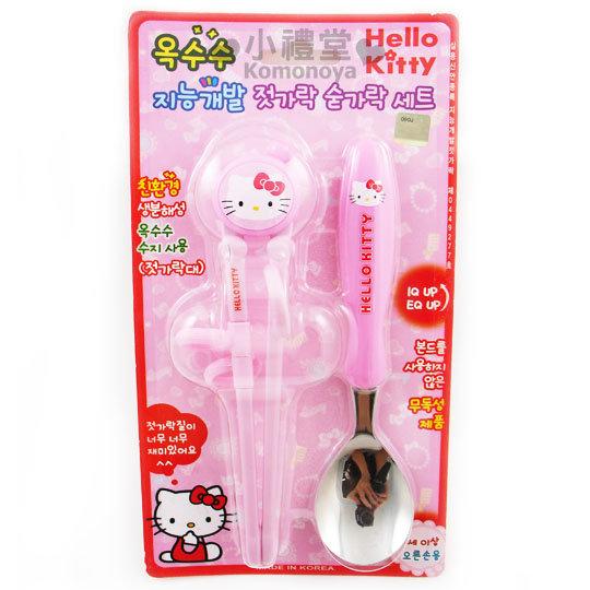 小禮堂韓國館Hello Kitty兒童學習筷匙組粉紅.臉軟式套環設計8809169-42034