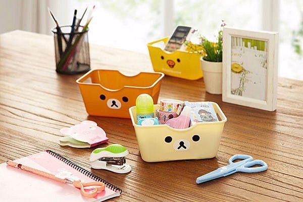 可愛日系卡通熊桌面收納盒文具收納保養品收納手機盒化妝品收納SV2404 BO雜貨