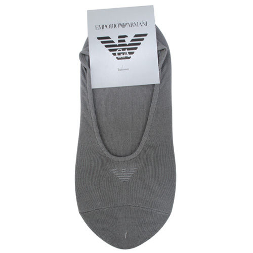 EMPORIO ARMANI老鷹標誌刺繡隱形船型襪(灰)980292-1