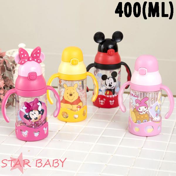 STAR BABY-正牌米奇米妮吸管水壺水瓶水杯兒童水壺學習杯400ML