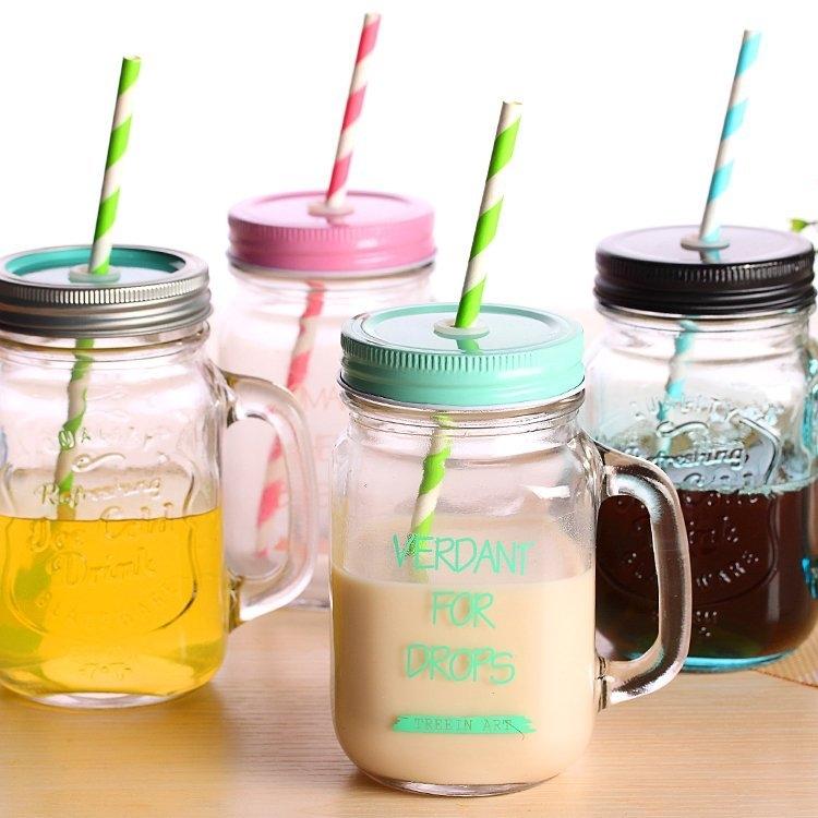 限時下殺89元復古玻璃把手杯梅森罐頭瓶字母吸管水杯奶茶果汁杯瓶身浮雕設計梅森瓶