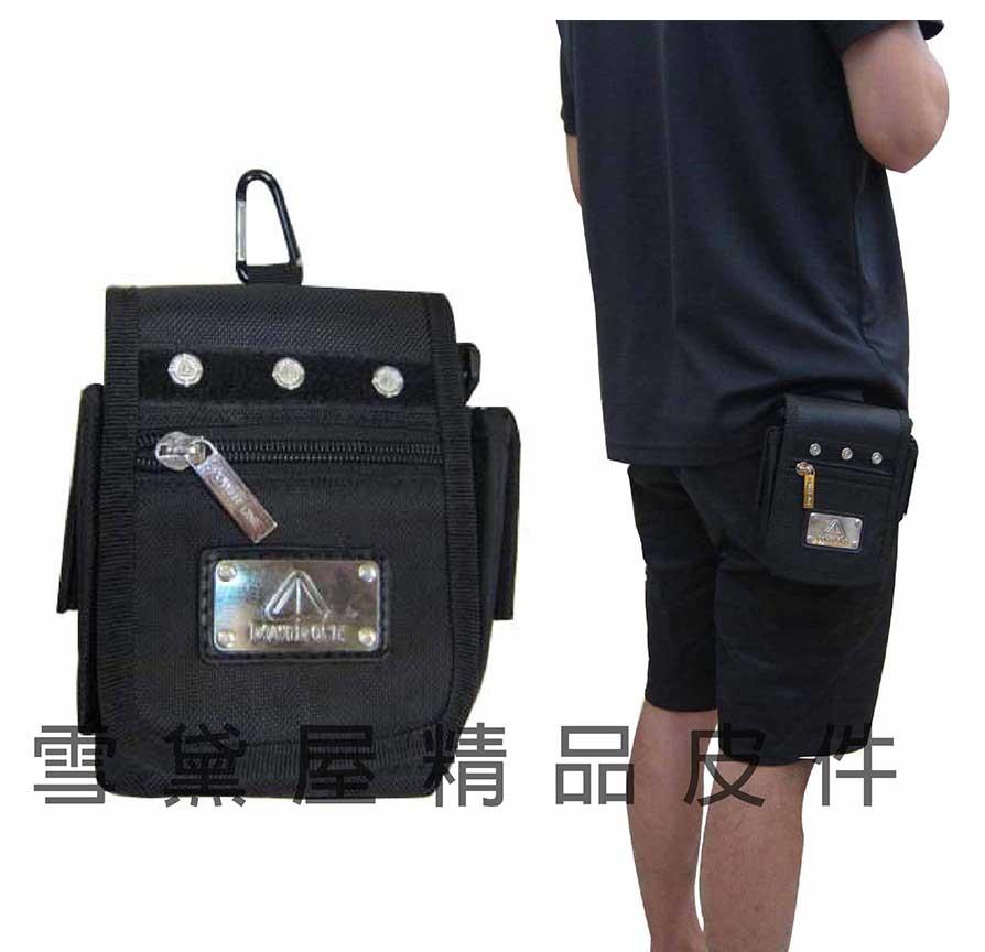 雪黛屋~POWER ONE外掛式腰包隨身物品專用包型男必備腰包防水尼龍布工具包附二組活動背帶AI788