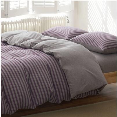天竺棉四件套純棉簡約條紋床單被套針織棉全棉床笠床上用品紫咖中條