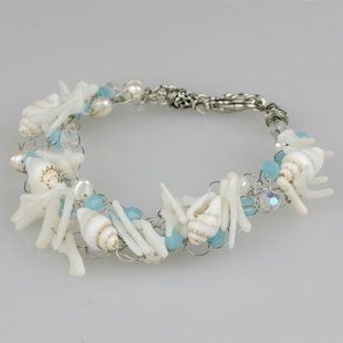 編織白珊瑚貝殼手飾