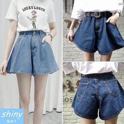 【V1662】shiny藍格子-俏皮夏日.簡約寬鬆造型百搭牛仔短褲