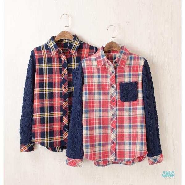viNvi Lady 格紋法蘭絨毛衣袖拼接長袖外套 長袖上衣