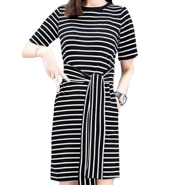 黑白橫條紋寬鬆腰綁帶短袖洋裝 11850067