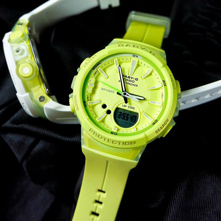 Baby-G CASIO BGS-100-9A卡西歐跑步運動計步器防水指針數位雙顯橡膠手錶螢光綠色42mm