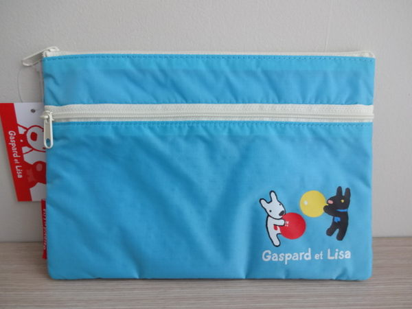 草莓牛奶屋日本進口Gaspard et Lisa黑白狗汽球系列雙層收納袋