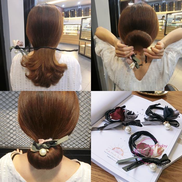 正韓頭飾 丸子頭盤髪器造型器百變蓬松懶人 扎頭髪飾品花苞頭髪飾【優兒寶貝】