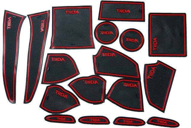 日產13年BIG TIIDA專用17片止滑防水製震杯墊置物墊門邊墊止滑墊防水墊