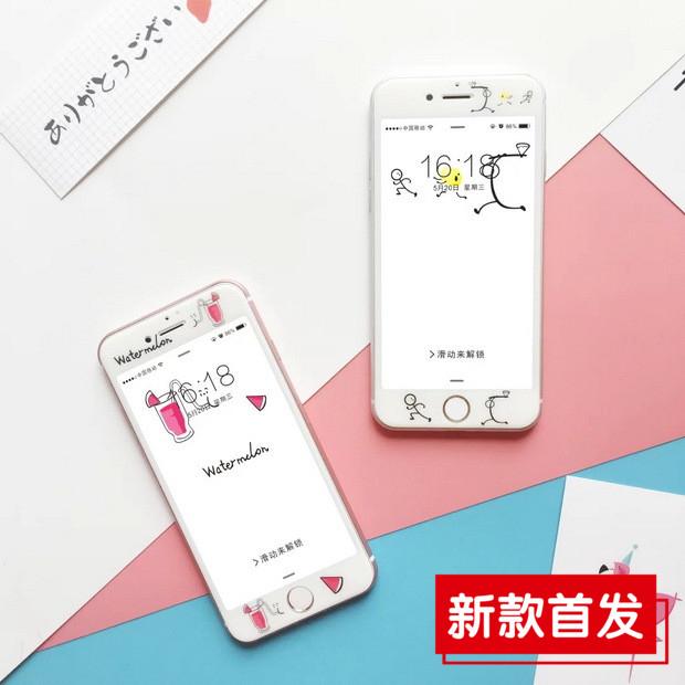 【SZ25】iPhone 7 惡搞水果 全屏3D納米 iPhone 6s plus 鋼化膜玻璃卡通 蘋果6s手機防爆貼膜 iphone 7 plus