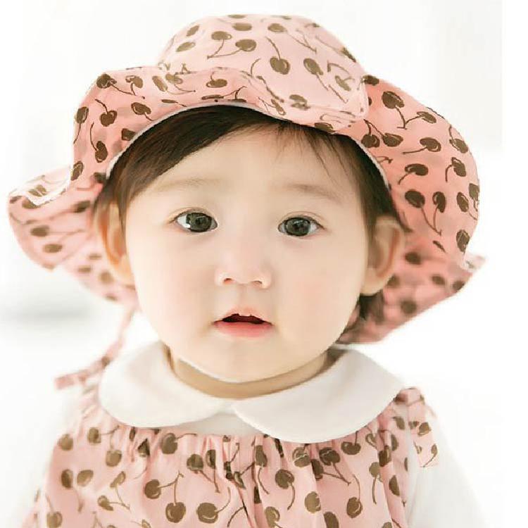 夏童帽寶寶遮陽帽JD0047 DL韓版嬰兒帽寶寶防曬帽太陽帽公主草帽花邊帽帽圍48-50cm