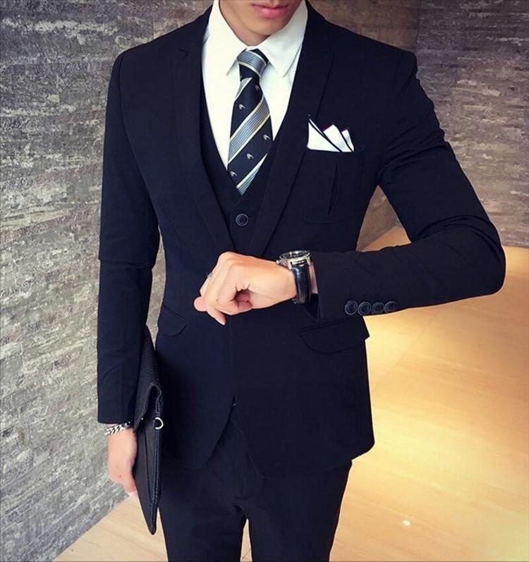 找到自己品牌韓國男口袋波折設計西裝外套穿搭三件式套裝成套西裝西裝修身外套背心褲子