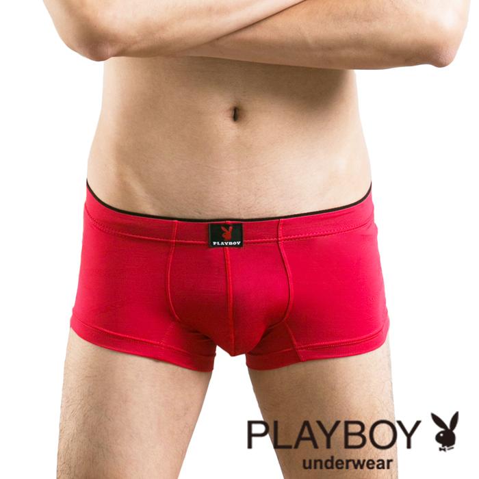 【Playboy】柔軟萊卡彈性低腰平口褲(亮麗紅)-PB069