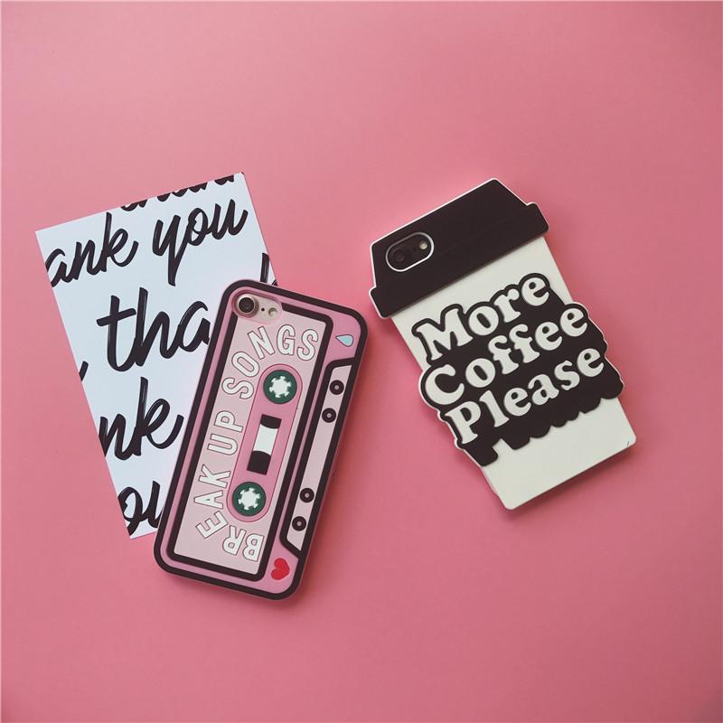 iPhone手機殼韓國少女時尚粉紅磁帶外帶咖啡杯矽膠軟殼蘋果iPhone7 iPhone6手機殼