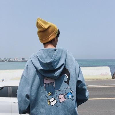 牛仔外套-連帽秋季時尚寬鬆百搭男丹寧夾克2色73pc38巴黎精品