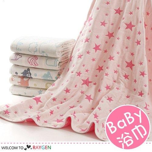 嬰兒浴巾三層紗布卡通動物圖案寶寶蓋被