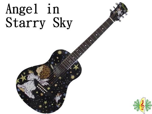 網音樂城吉他旅行吉他星空天使彩繪36吋黑全配贈琴袋調音器新琴點播Ibanez背帶琴架