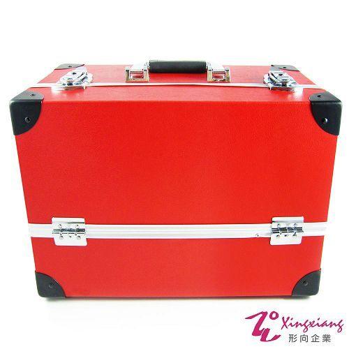 Xingxiang形向復古皮革手提化妝箱英倫風紅6K-26-1