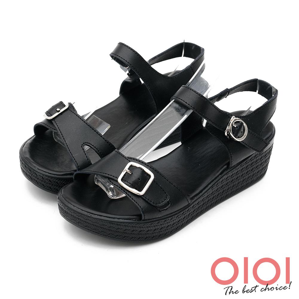 楔型涼鞋 個性涼夏純色真皮楔型涼鞋(黑) *0101shoes 【18-D35bk】【現+預】