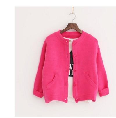 毛衣外套女短款學生開衫秋季棒球服-玫紅色