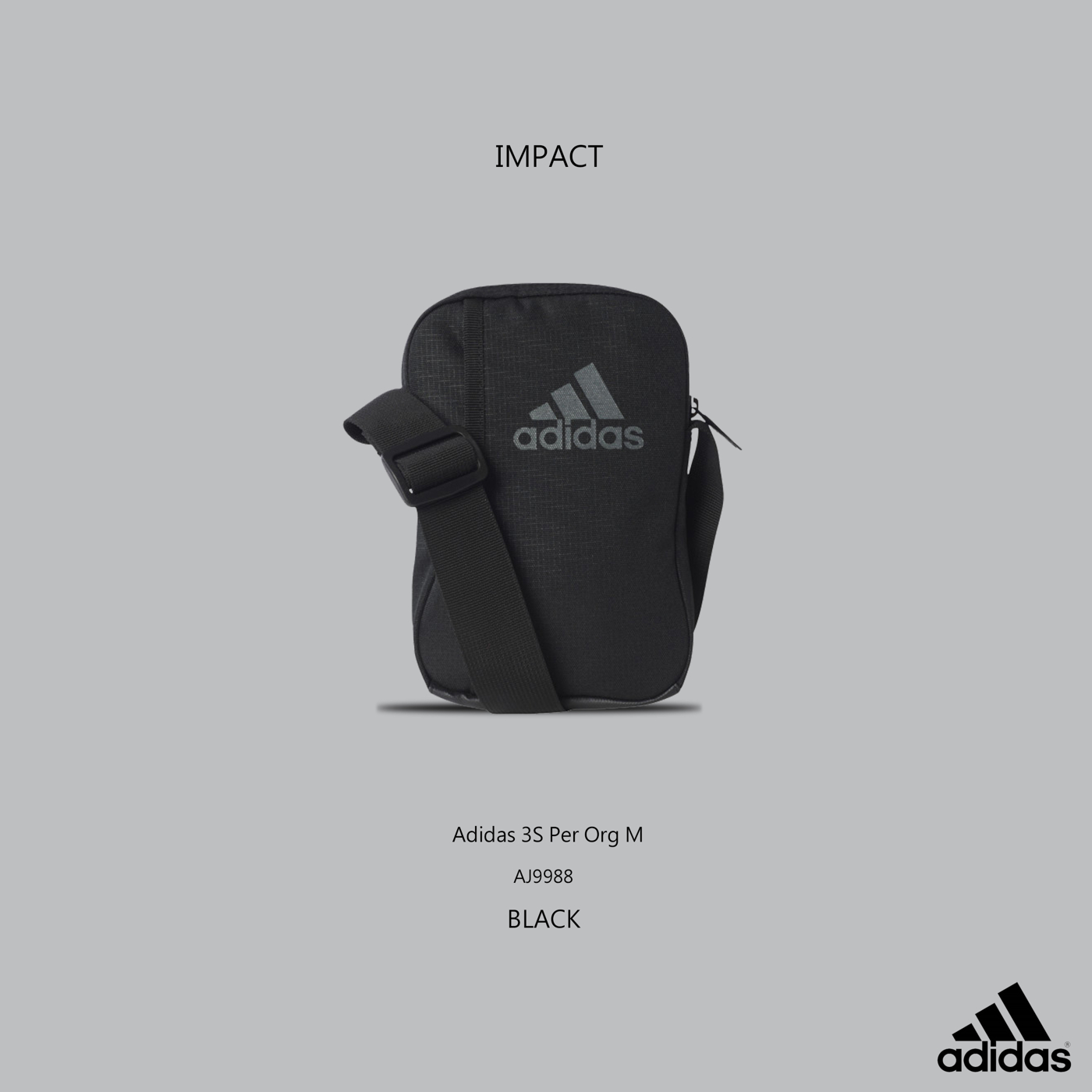 IMPACT Adidas 3S Per Org M LOGO 三線 小側背包 黑 超實用 男女 休閒 運動 百搭 AJ9988