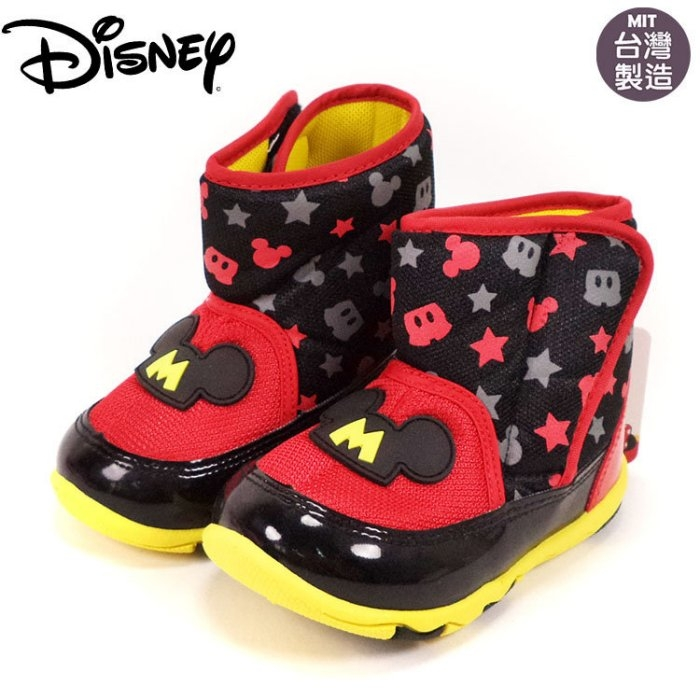 童靴正版Disney迪士尼米奇黑色大頭魔鬼氈雪靴.太空靴~EMMA商城
