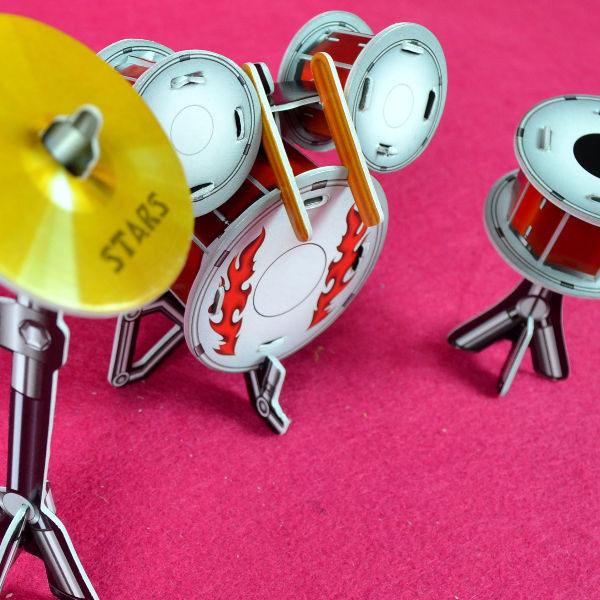 佳廷家庭親子DIY紙模型3D立體拼圖贈品獎勵品專賣店天籟之音樂器袋裝樂器3爵士鼓Calebou卡樂保
