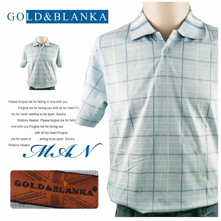 大盤大GOLD&BLANKA男夏短袖POLO衫170 92A透氣衫88節無口袋休閒衫格紋棉衫
