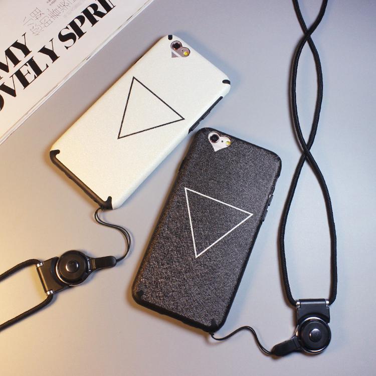 iphone 6 plus手機殼iphone 6s手機套iphone 6手機保護殼蘋果6S Plus韓國簡約三角形送掛繩潮男