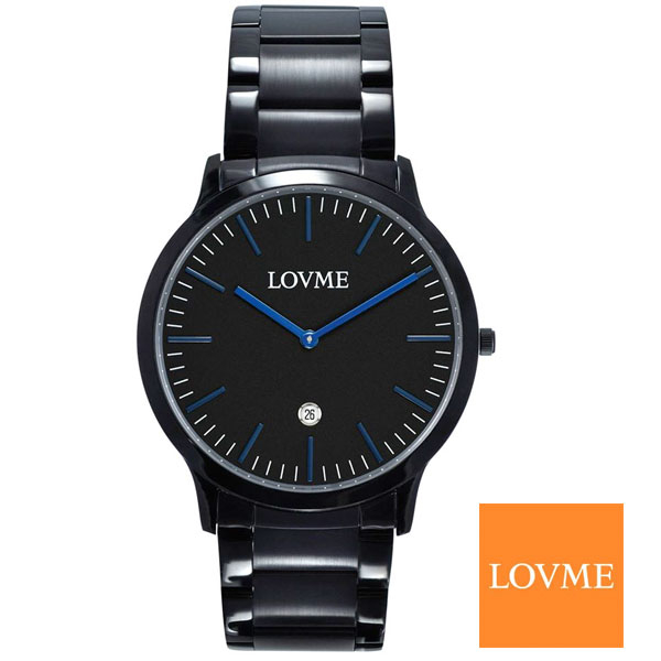 LOVME極簡超薄藍針黑鋼錶42mm錶面日期顯示VS1727M-33-3L1名人鐘錶高雄門市