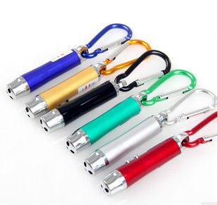 TwinS三合一雷射筆驗鈔燈LED小手電筒鑰匙圈【顏色隨機發貨】