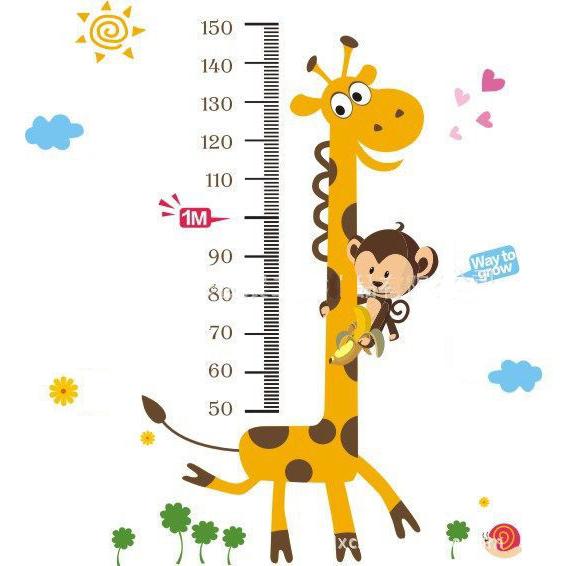 無痕壁貼 牆貼 卡通兒童壁貼 兒童房設計 俏皮長頸鹿身高尺 《YP1287》快樂生活網